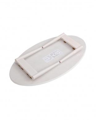 ホワイト オーバル 折れ脚テーブル 90×50×33.5cm見る