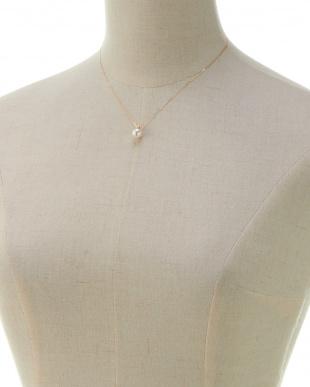 イエローゴールド K18 ダイヤ&パールネックレスを見る