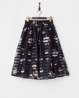 ネイビー ネイビー フラワーボーダースカートを見る