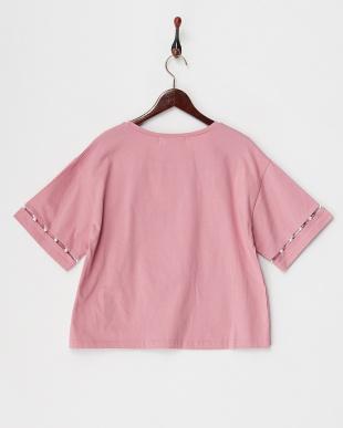 ピンク パールビジュー袖ローズTシャツを見る