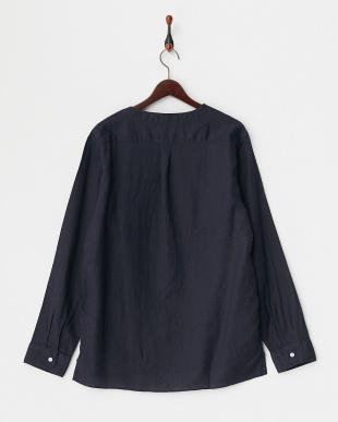 210 ネイビー -/60 リネンポプリンキーネックプルオーバーシャツ見る