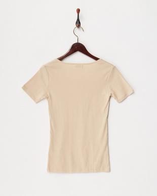ベージュ カラダ温暖化 ストレッチコットン 半袖シャツ見る