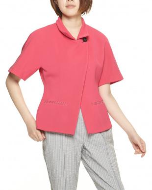 ピンク系 アシンメトリー半袖ジャケットを見る