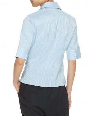 青 ブルー フリルストライプシャツを見る