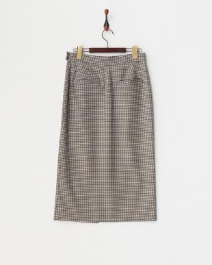 ブラウン チェックラップスカート見る
