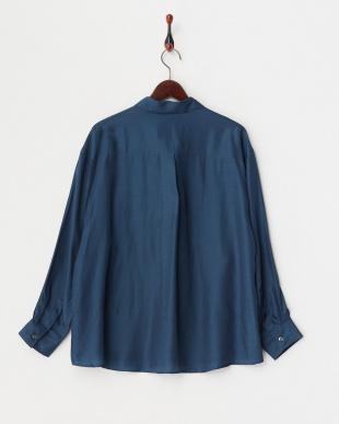 ダークブルー 長袖スキッパーシャツ|WOMEN見る