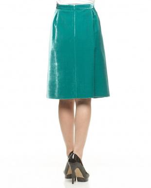 55 グリーン リーフ柄 ベルベットスカート見る