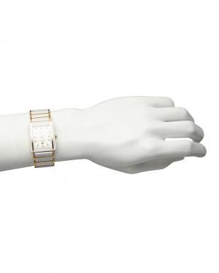 白 ダイヤ付き 電池式腕時計 030|MEN見る