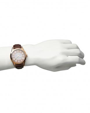 ブラウン ダイヤ付き ソーラー電波腕時計 085|MEN見る