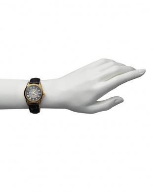 ゴールド/ブラック ダイヤ付き ソーラー電波腕時計 085|WOMEN見る