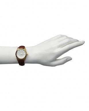 ゴールド/ホワイト ダイヤ付き ソーラー電波腕時計 085|WOMEN見る