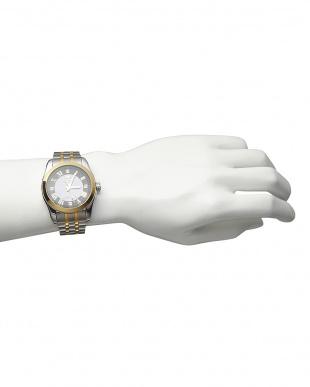 ゴールド/ブラック ダイヤ付き ソーラー電波腕時計 096|MEN見る