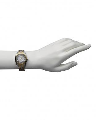 ゴールド/ブラック ダイヤ付き ソーラー電波腕時計 096|WOMEN見る