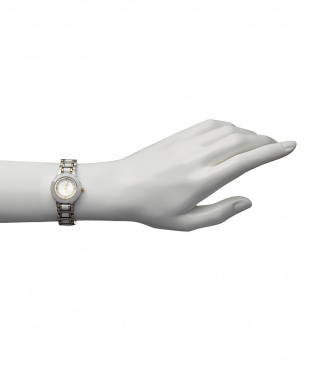 ゴールドホワイト ルビー付き 電池式腕時計 001|WOMENを見る