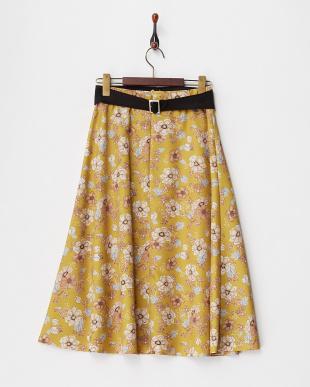 マスタード フラワープリントスカート見る
