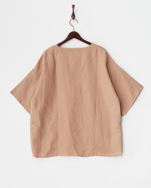 ブラウン リネン混プルオーバーシャツを見る
