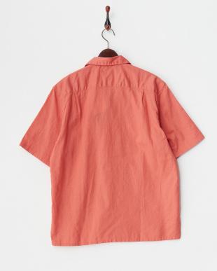 オレンジ コットンリネンオープンカラーシャツを見る
