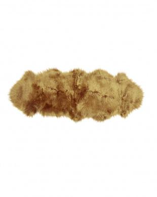 ブラウン/ブラウンブリサ スプリングラム ムートン長毛ラグ2匹 約60×170cm見る