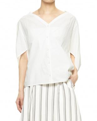 ホワイト Vネックドレープシャツを見る