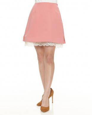 ピンク 裾レーススカート見る