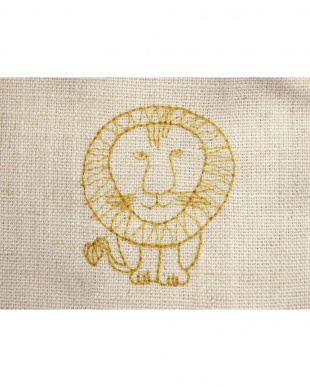 ライオンYE 刺繍麻混カーテン 100×178cm 2枚組見る