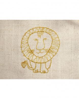 ライオンYE 刺繍麻混カーテン 100×200cm 2枚組見る