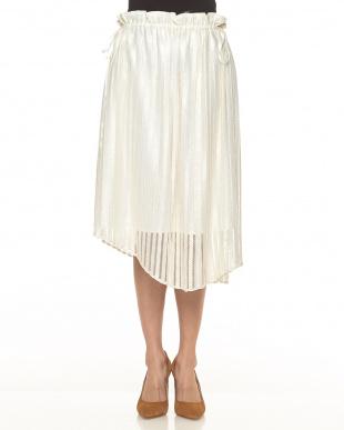 ホワイト 透かしストライプギャザースカートを見る