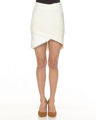 ホワイト  クロスミニスカート見る