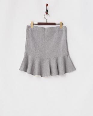 グレー 裏毛 裾切り替えスカートを見る