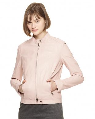 ベビーピンク イタリアンラムレザー スタンドジャケットを見る