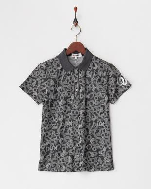 ブラック 吸汗速乾・UV CUT 総柄半袖ポロシャツを見る