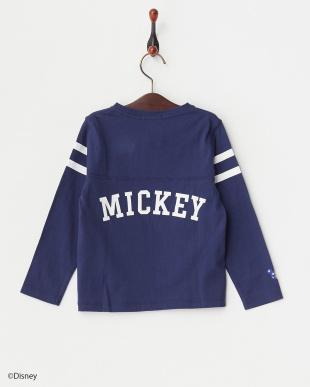 ネイビー ミッキーフットボールロングスリーブTシャツ見る