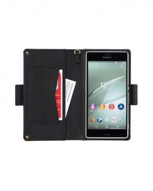 ネイビー ポケット付き スマートフォン用手帳型マルチケース見る