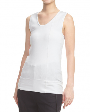 WHITE STRETCH COTTON RIB TANKを見る