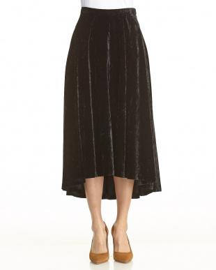 Black クラッシュベルベットベルティドスカートを見る