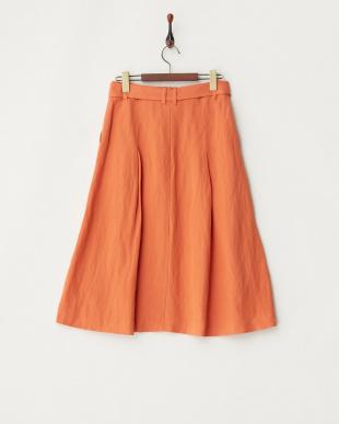 オレンジ リネンレーヨンポプリンスカートを見る