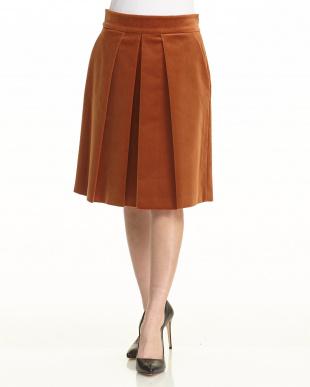 ブラウン ボックスプリーツ ベルベットスカート見る