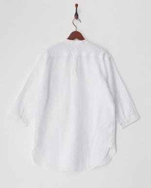 ホワイト 綿麻7分袖バンドカラーシャツを見る
