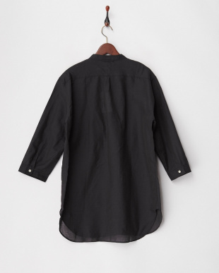 ブラック 綿麻7分袖バンドカラーシャツ見る