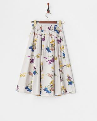 グレー フラワープリント ギャザースカート見る