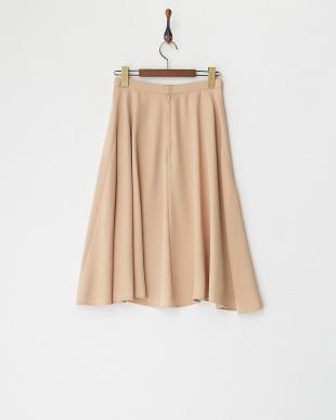 ピンクベージュ フレアミディスカート見る
