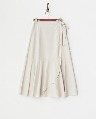 グレージュ フレアヘムラップロングスカートを見る