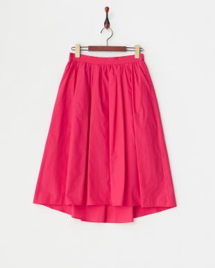 ピンク イレギュラーヘムコットンギャザースカートを見る