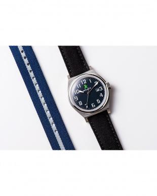 ネイビー ASC キャンバスベルト ラウンド腕時計|UNISEX見る