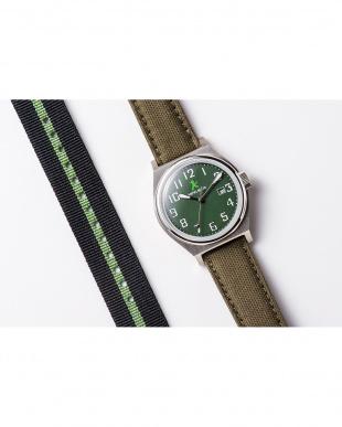 グリーン ASC キャンバスベルト ラウンド腕時計|UNISEX見る