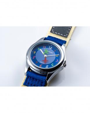 ネイビー×クリーム AMA ディスク型秒針腕時計|KIDSを見る