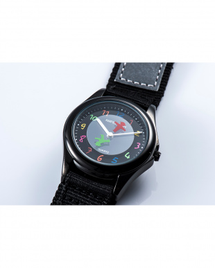 ブラック AMA ディスク型秒針腕時計|KIDSを見る