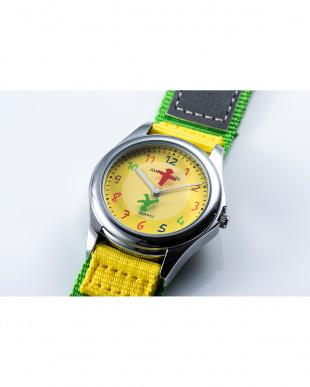 イエロー×グリーン AMA ディスク型秒針腕時計|KIDSを見る