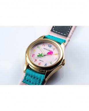 ピンク×ライトブルー AMA ディスク型秒針腕時計|KIDSを見る