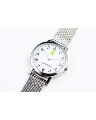 ホワイト×グリーン AFB ディスク秒針 メッシュベルト腕時計|UNISEX見る
